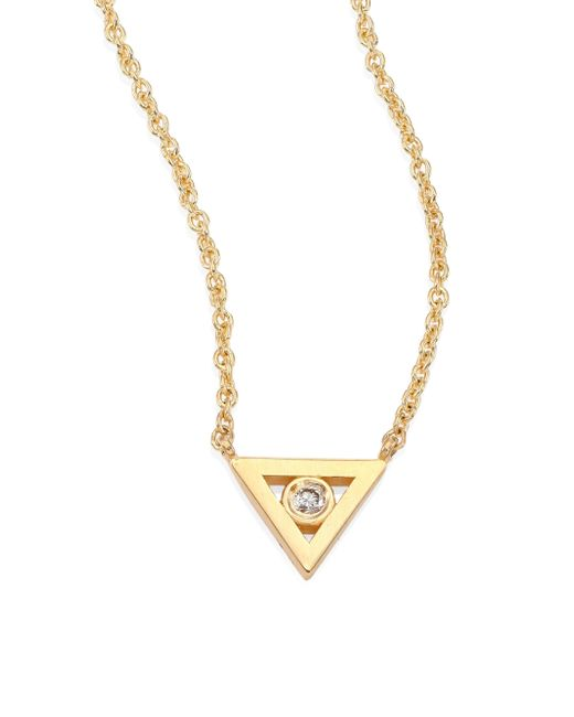 Sydney Evan | Metallic Bezel Triangle Diamond & 14k Yellow Gold Pendant Necklace | Lyst