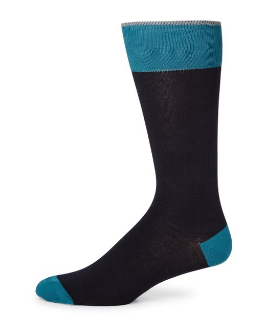 Saks Fifth Avenue | Blue Colorblock Combed Cotton Blend Socks for Men | Lyst