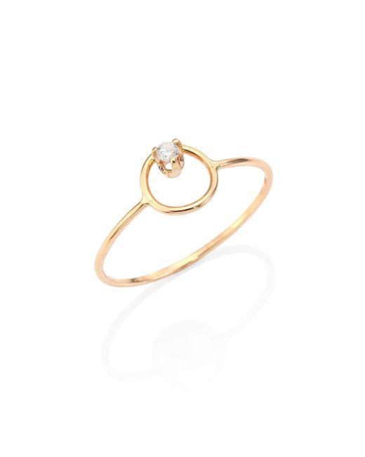 Zoe Chicco | Metallic Diamond & 14k Yellow Gold Circle Ring | Lyst