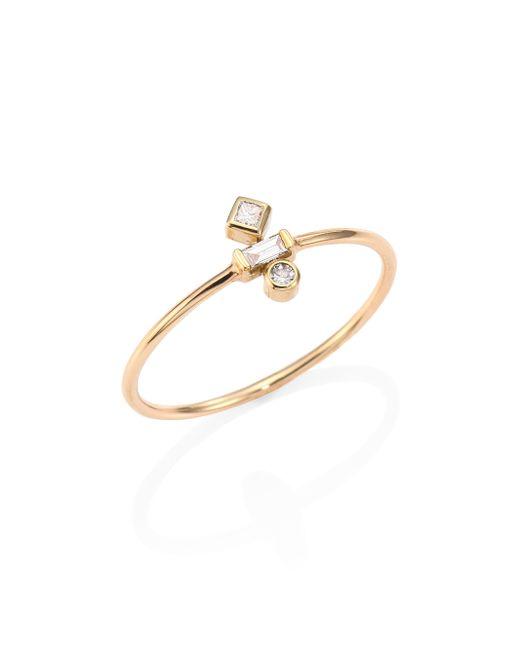 Zoe Chicco | Metallic Mixed Diamond & 14k Yellow Gold Ring | Lyst