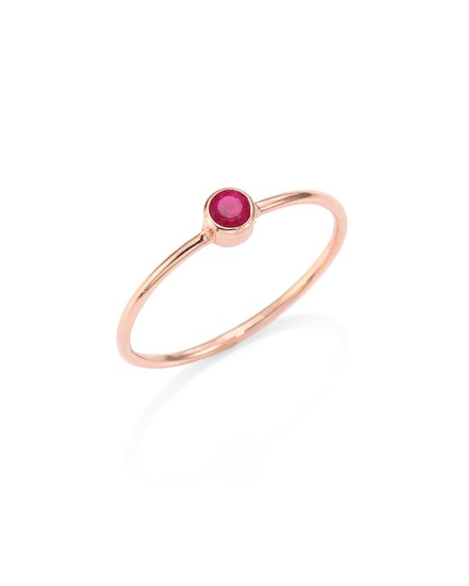 Zoe Chicco | Metallic Ruby & 14k Rose Gold Ring | Lyst
