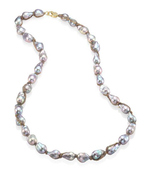 Jordan Alexander | Metallic 15mm Silver Baroque Pearl, Diamond & 18k Tri-gold Wrapped Necklace | Lyst