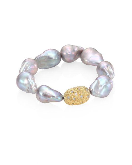 Jordan Alexander | Gray 15mm Baroque Freshwater Pearl, Diamond & 18k Yellow Gold Beaded Stretch Bracelet | Lyst