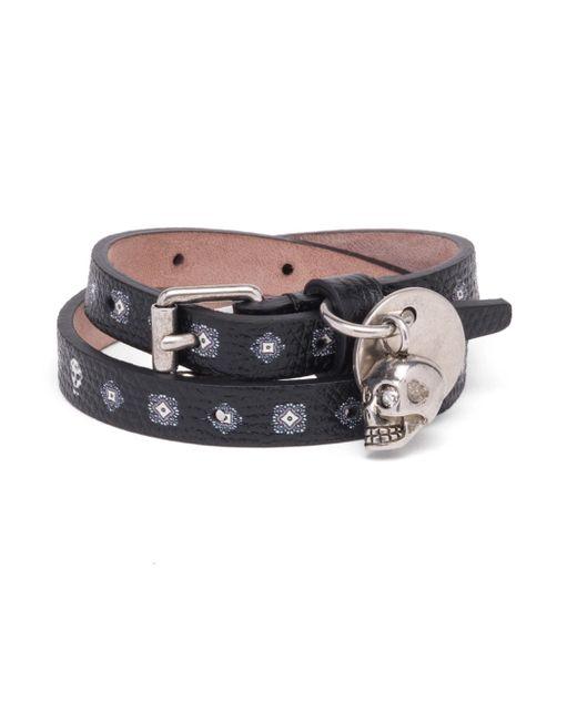 Alexander McQueen   Black Textured Leather Bracelet for Men   Lyst