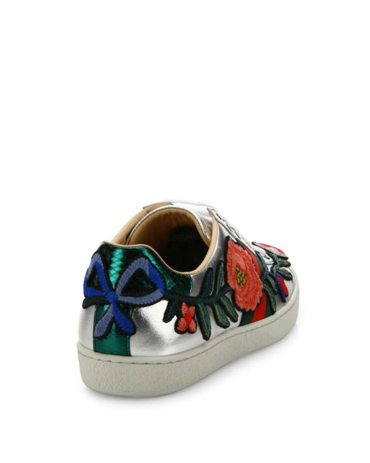 Gucci New Ace Floral Embroidered Metallic Leather Sneakers