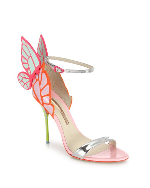 Sophia Webster | Pink Chiara Metallic Patent-leather Sandals | Lyst