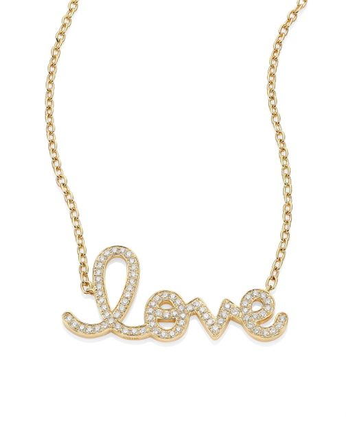 Sydney Evan   Metallic Large Love Diamond & 14k Yellow Gold Pendant Necklace   Lyst