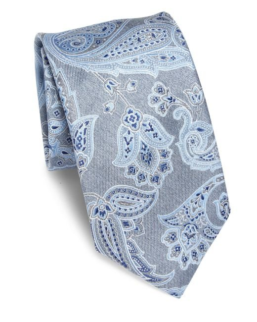 Brioni | Blue Large Paisley Printed Silk Tie for Men | Lyst