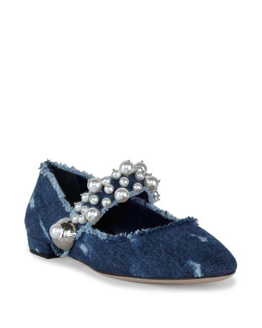 Miu Miu   Blue Pearly Denim Mary Jane Flat   Lyst