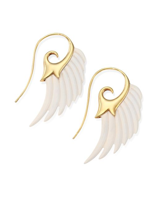 Noor Fares | Metallic Fly Me To The Moon Ivory & 18k Yellow Gold Wing Earrings | Lyst