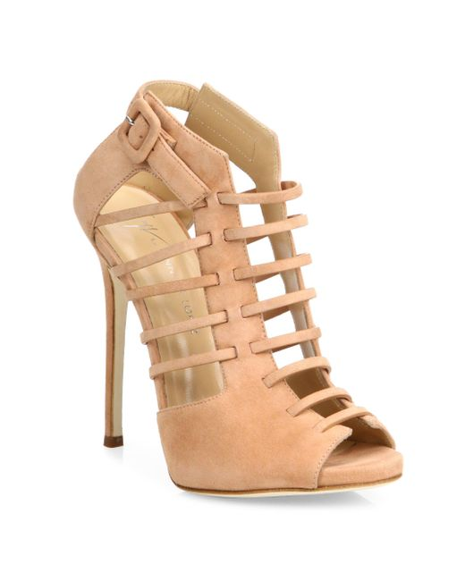 Giuseppe Zanotti | Natural Giuseppe For Jennifer Lopez 120 Suede Cage Peep-toe Booties | Lyst