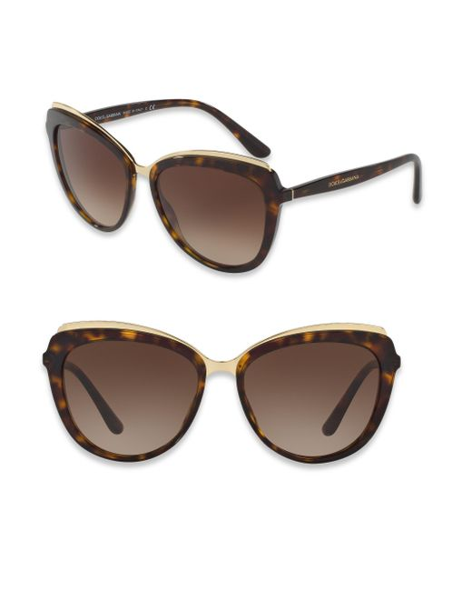 Dolce & Gabbana | Brown 57mm Cat Eye Sunglasses | Lyst