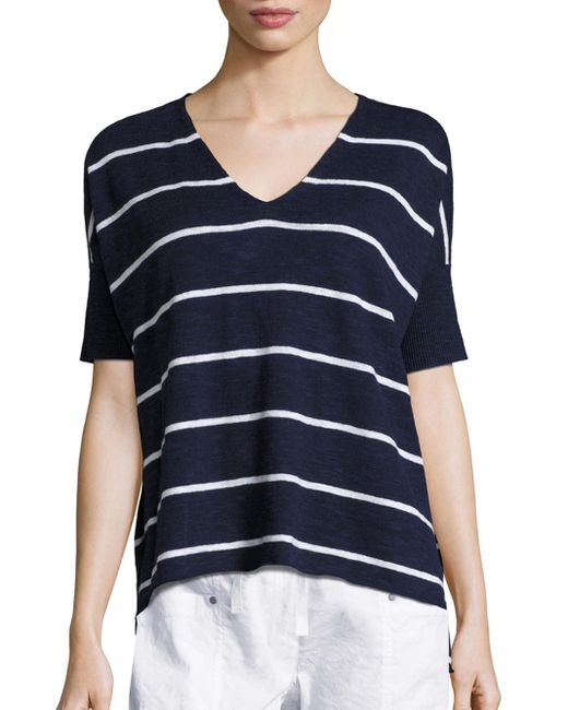 Eileen fisher striped v neck short sleeve top in blue for Eileen fisher organic cotton t shirt