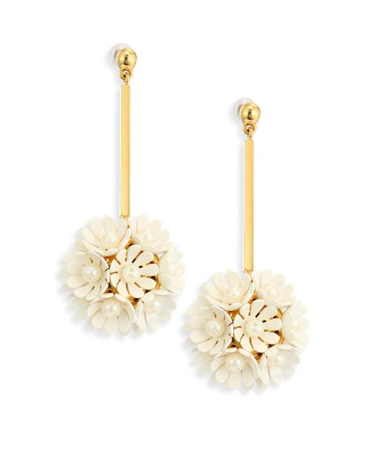 Lele Sadoughi   Metallic Tahitian Nights Plumeria Faux Pearl Drop Earrings   Lyst