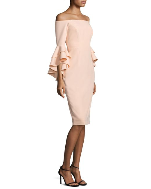 MILLY | Natural Selena Italian Cady Ruffle Off-the-shoulder Bell Sleeve Dress | Lyst