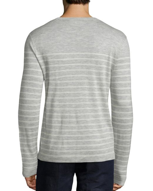 polo ralph lauren striped cashmere sweater in gray for men lyst