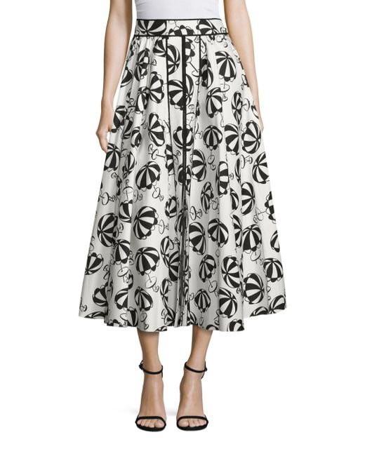 Carolina Herrera   Black Café Umbrella Midi Skirt   Lyst