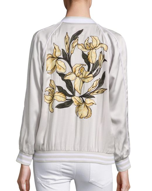 Equipment Kendrix Embroidered Silk Bomber Jacket  Lyst