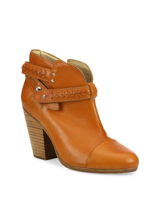 Rag & Bone | Brown Harrow Leather Booties | Lyst