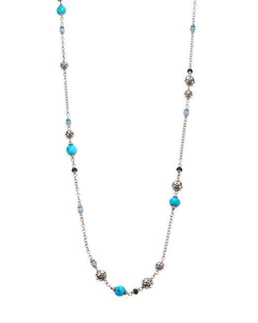 John Hardy   Metallic Dot Turquoise, Swiss Blue Topaz, Black Sapphire & Sterling Silver Sautoir Station Necklace/36   Lyst