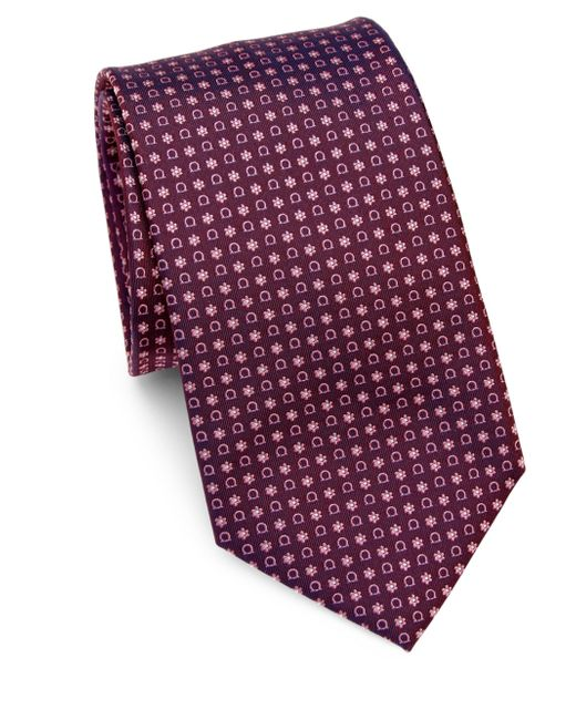 Ferragamo | Purple Gancini & Floral Print Silk Tie for Men | Lyst