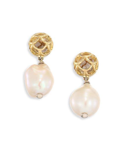John Hardy   Metallic Legends Naga 11m White Baroque Pearl & 18k Yellow Gold Drop Earrings   Lyst
