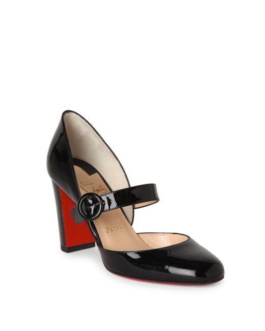 Christian Louboutin | Black Miss Kawa 85 Patent Leather Mary Jane Block Heel Pumps | Lyst