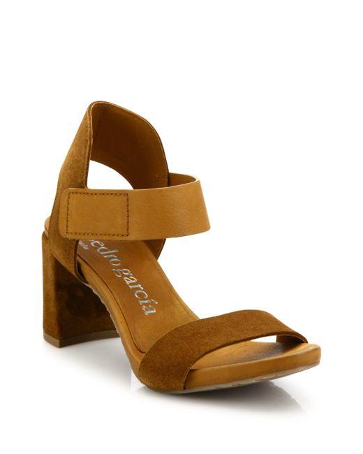 Pedro Garcia | Brown Willa Suede Grip-tape Block Heel Sandals | Lyst
