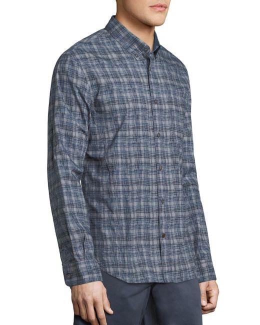 john varvatos plaid button down shirt in blue for men lyst