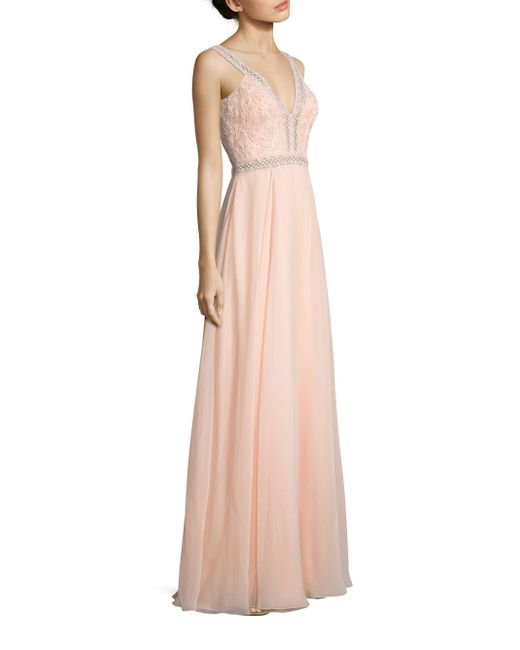 Basix Black Label Floral Laced V-neck Gown In Pink