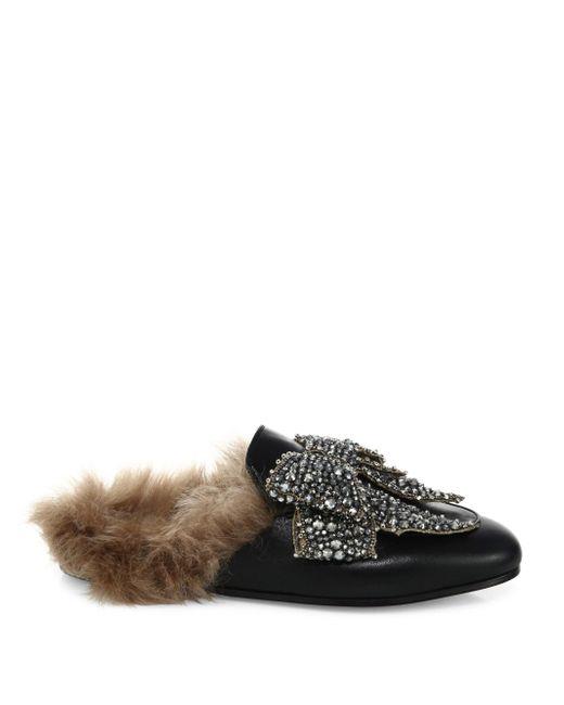 gucci princetown jeweled leather  u0026 fur loafer slides in black