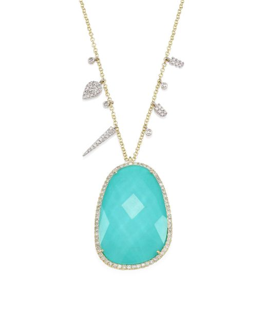 Meira T | Green Boulder Opal, Diamond, 14k White & Rose Gold Pendant Necklace | Lyst