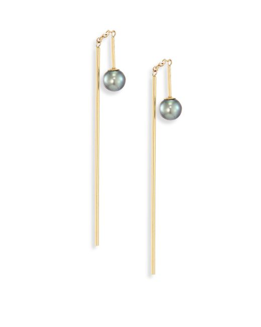 Mizuki | Metallic 4mm Black Oval Freshwater Pearl & 14k Yellow Gold Threader Bar Earrings | Lyst