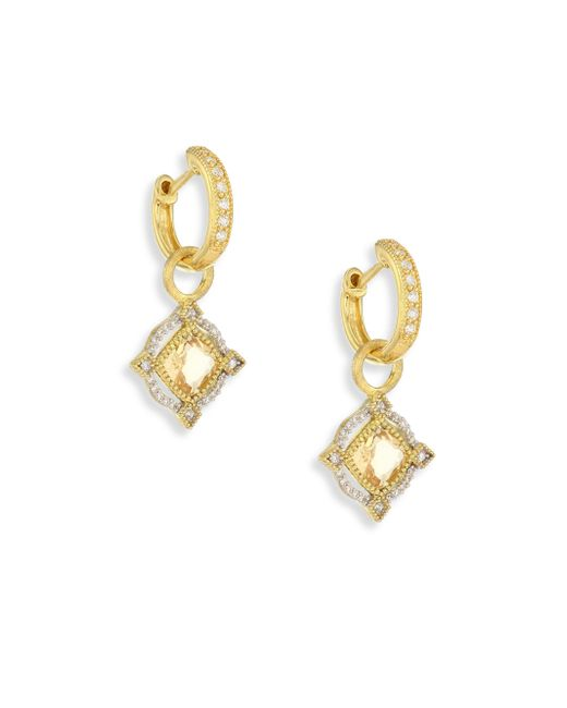 Jude Frances   Metallic Lisse Diamond, Champagne Citrine & 18k Yellow Gold Halo Earring Charms   Lyst