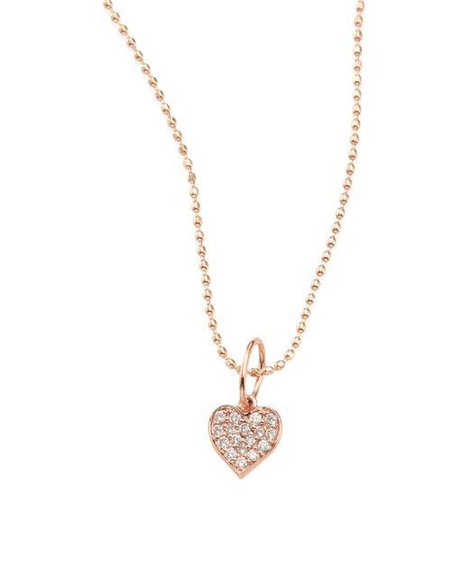 Sydney Evan | Metallic Heart Diamond & 14k Rose Gold Pendant Necklace | Lyst