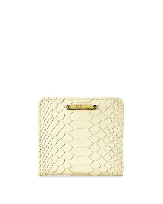 Gigi New York   Metallic Mini Python-embossed Leather Bi-fold Wallet   Lyst