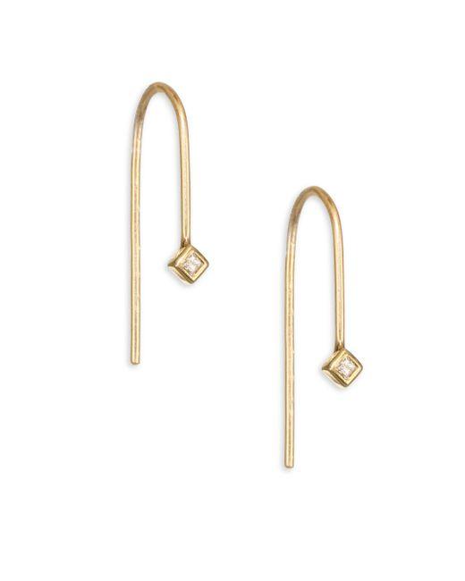Zoe Chicco   Metallic Diamond & 14k Yellow Gold Wire Earrings   Lyst