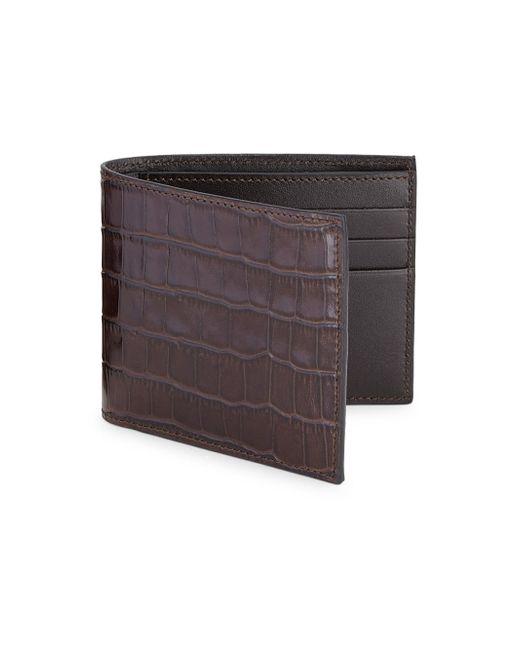 Saks Fifth Avenue | Brown Crocodile Card Case for Men | Lyst
