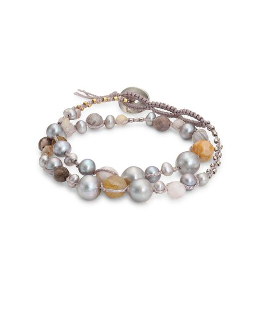Chan Luu | Gray 4-9mm Grey Pearl & Opal Double Wrap Bracelet | Lyst