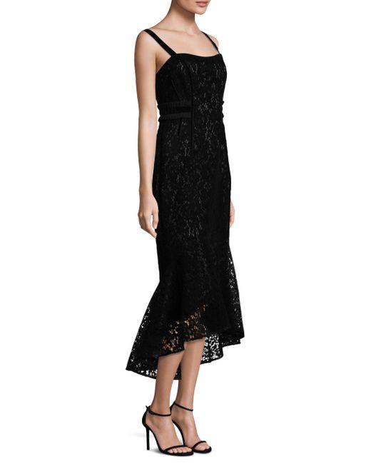 Laundry by Shelli Segal   Black Flocked Velvet Hi-lo Dress   Lyst