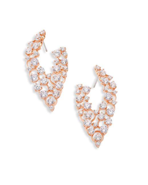 Adriana Orsini | Metallic Caspian Crystal Front-back Hoop Earrings | Lyst