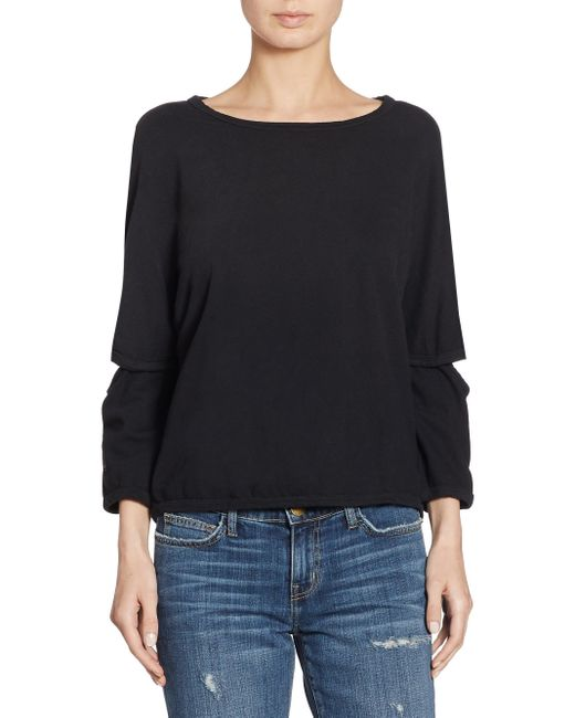 Current/Elliott | Black Cotton Elbow Cut-out Sweater | Lyst