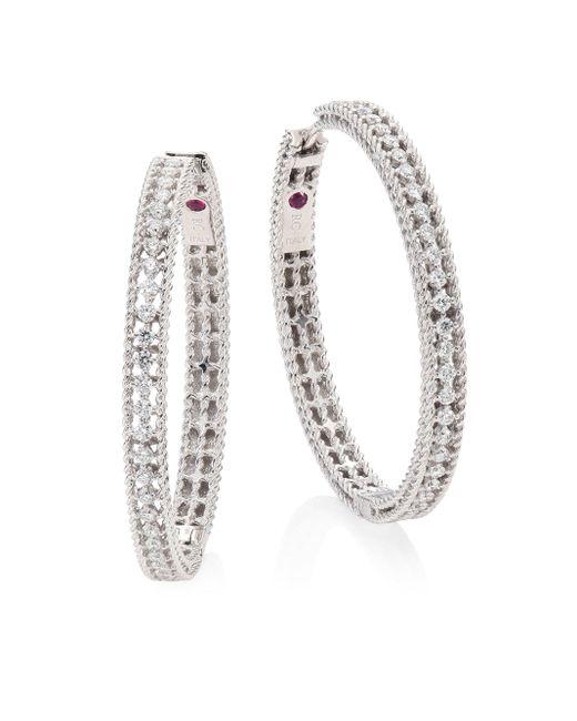 Roberto Coin | Metallic Symphony Large Diamond & 18k White Gold Hoop Earrings/1.25 | Lyst