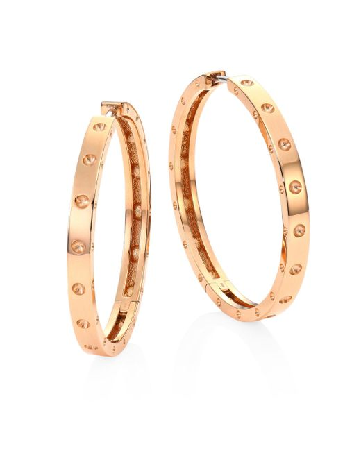 Roberto Coin | Metallic Symphony Pois Mois Large 18k Rose Gold Hoop Earrings/1.25 | Lyst