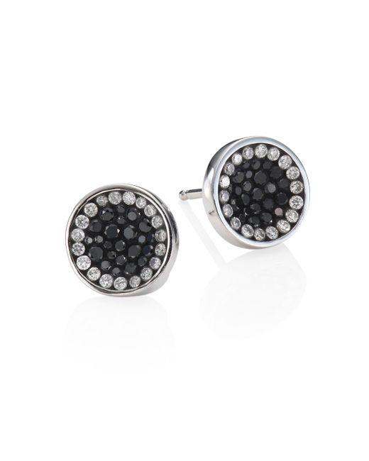 Plevé | Perfect Round Black Diamond Button Stud Earrings | Lyst