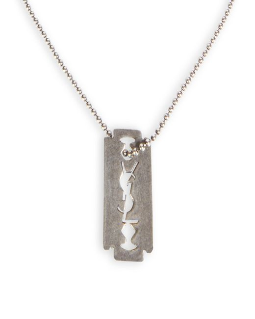 Saint Laurent | Metallic Razor Blade Chain Necklace | Lyst