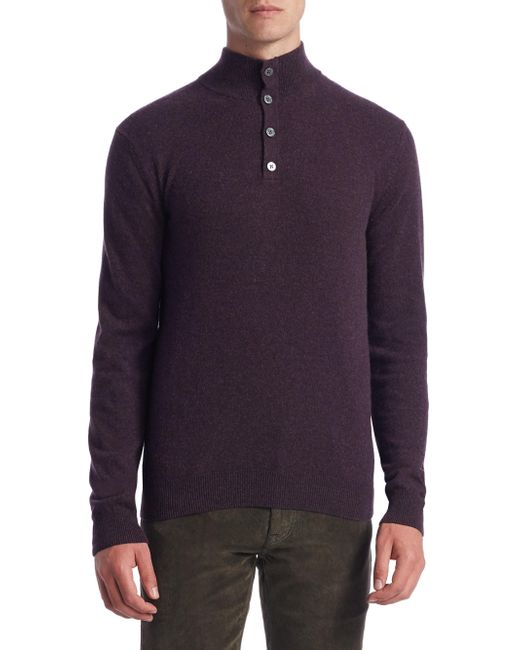 Saks Fifth Avenue | Blue Collection Cashmere Mockneck Elbow Patch Sweater for Men | Lyst
