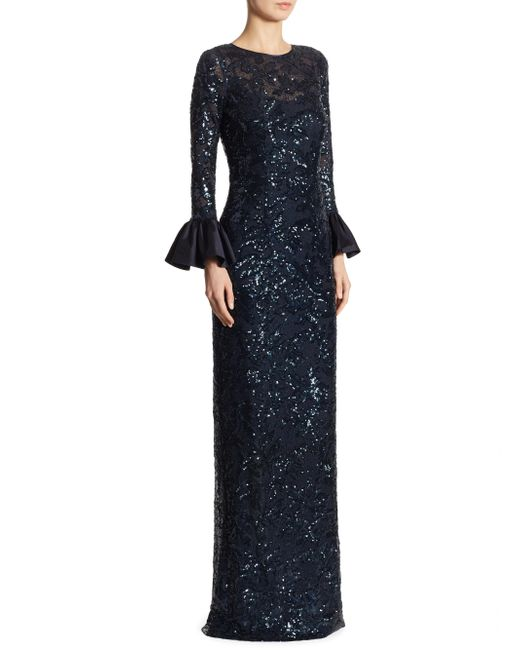 Teri Jon   Blue Sequined Bell Sleeve Gown   Lyst