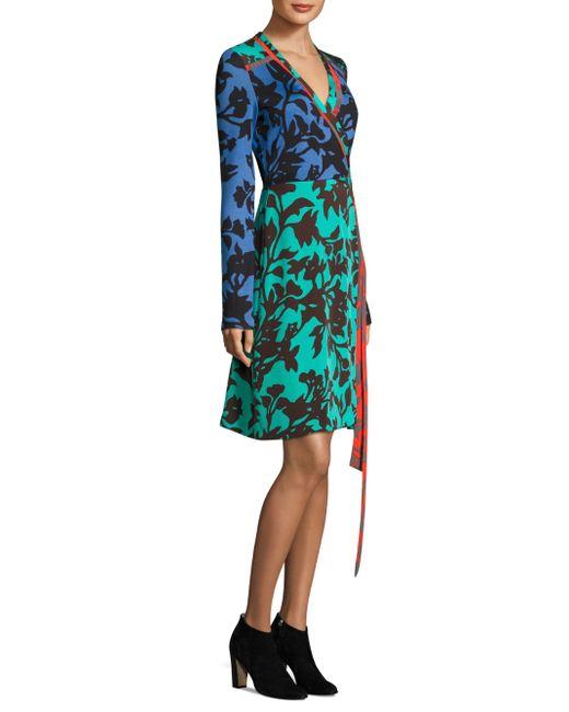Diane von Furstenberg | Blue Printed Silk Wrap Dress | Lyst