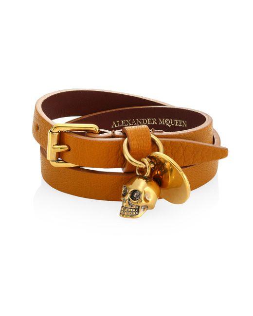 Alexander McQueen | Multicolor Skull Charm Double-wrap Leather Bracelet | Lyst